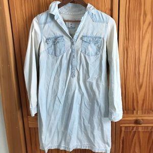"Denim Shirt dress with ""bleached wash"""
